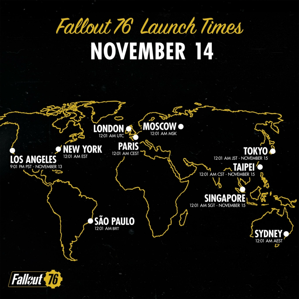 fallout 76 launch times