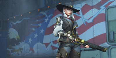 Overwatch's Ashe in front of a USA background