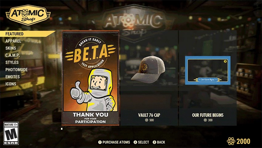 item types fallout 76