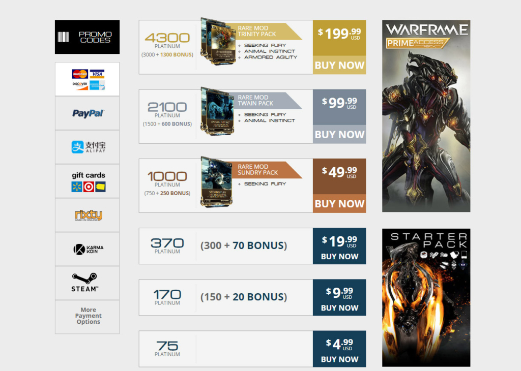 warframe platinum guide  when to buy  how to get  and best spend it