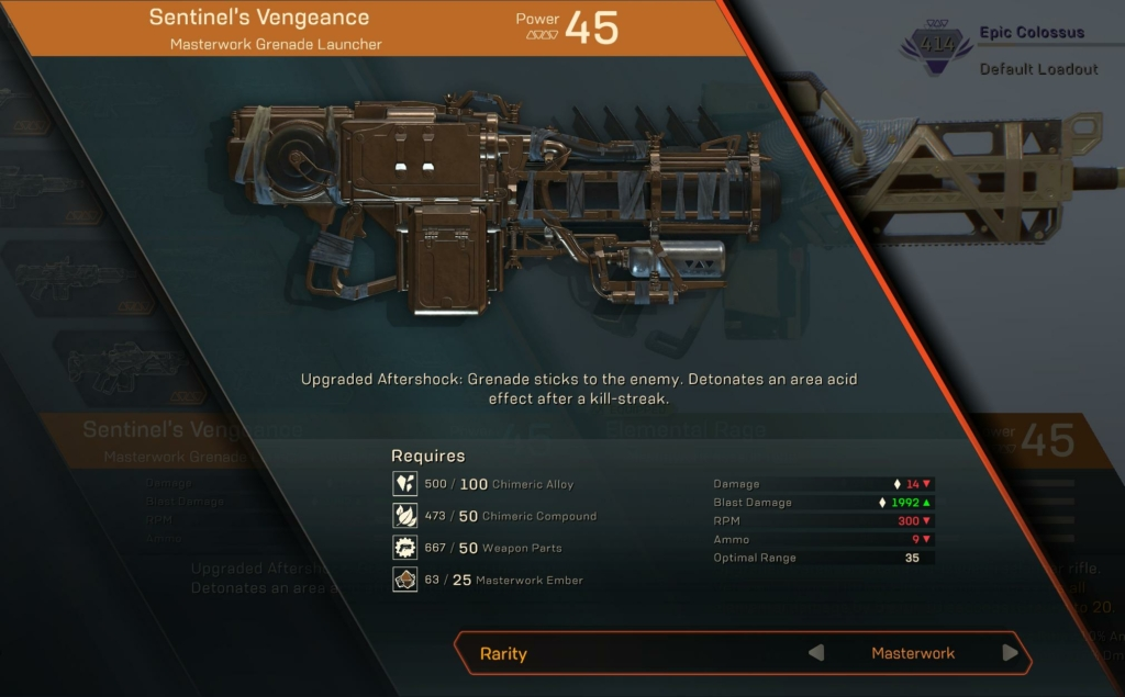 Anthem Masterwork & Legendary Weapons Guide: All Weapons