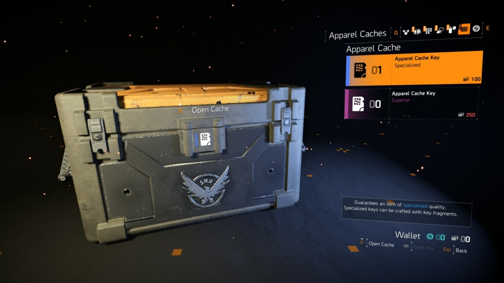 The Division 2 Apparel Cache Key
