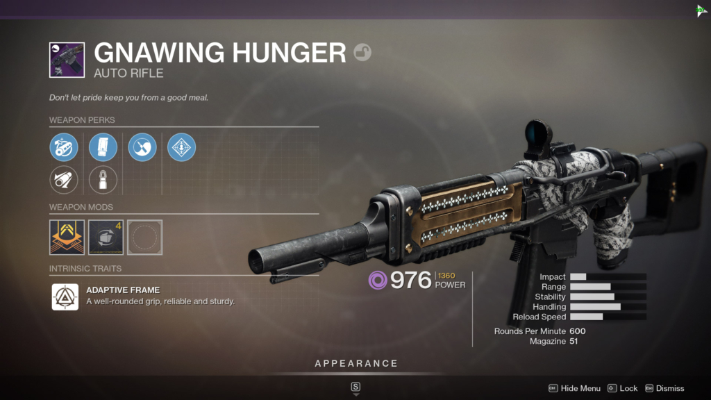 Destiny 2 Gnawing Hunger