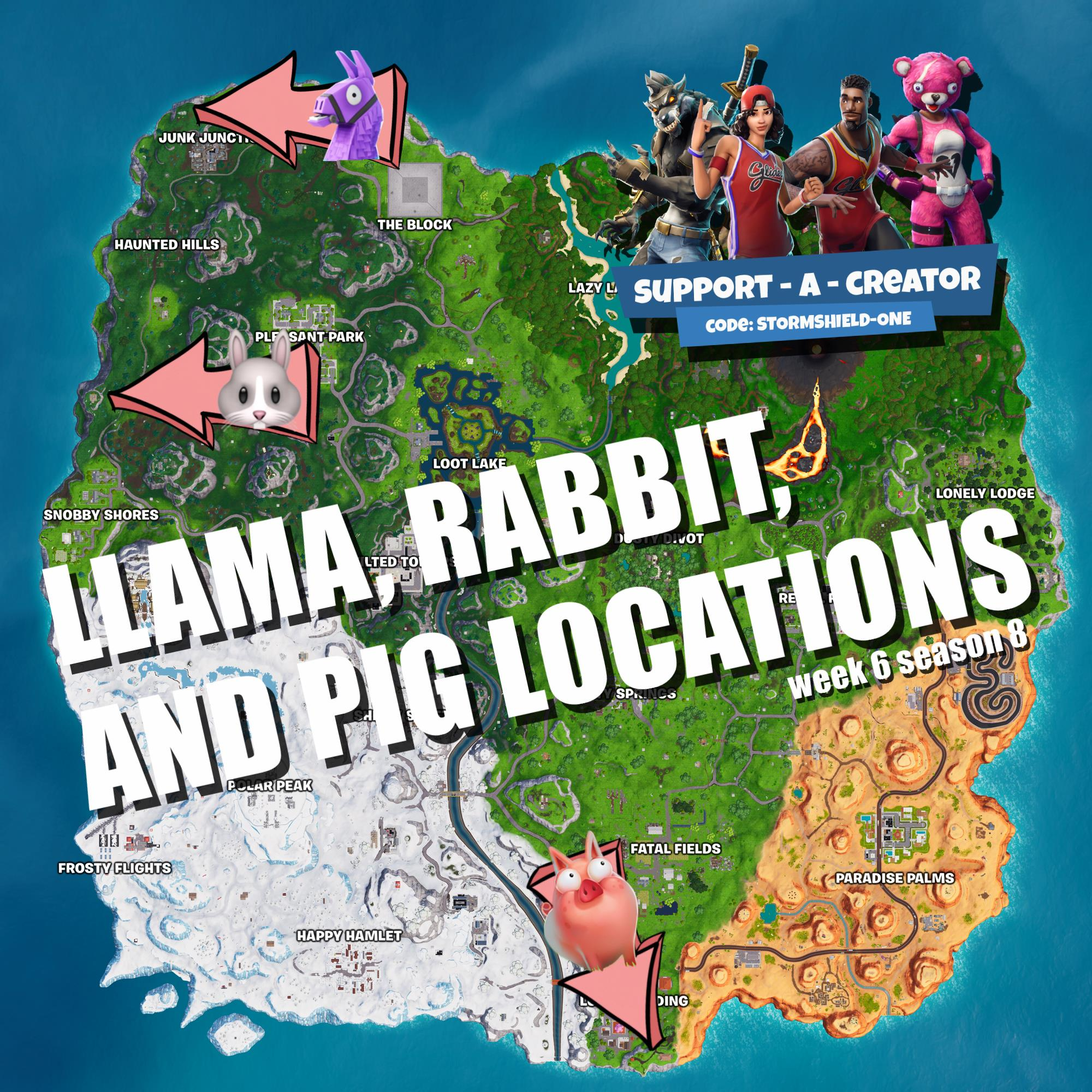 Fortnite Season 8 Week 6 Highest Elevations Knife Points - visit a wooden rabbit a stone pig and a metal llama