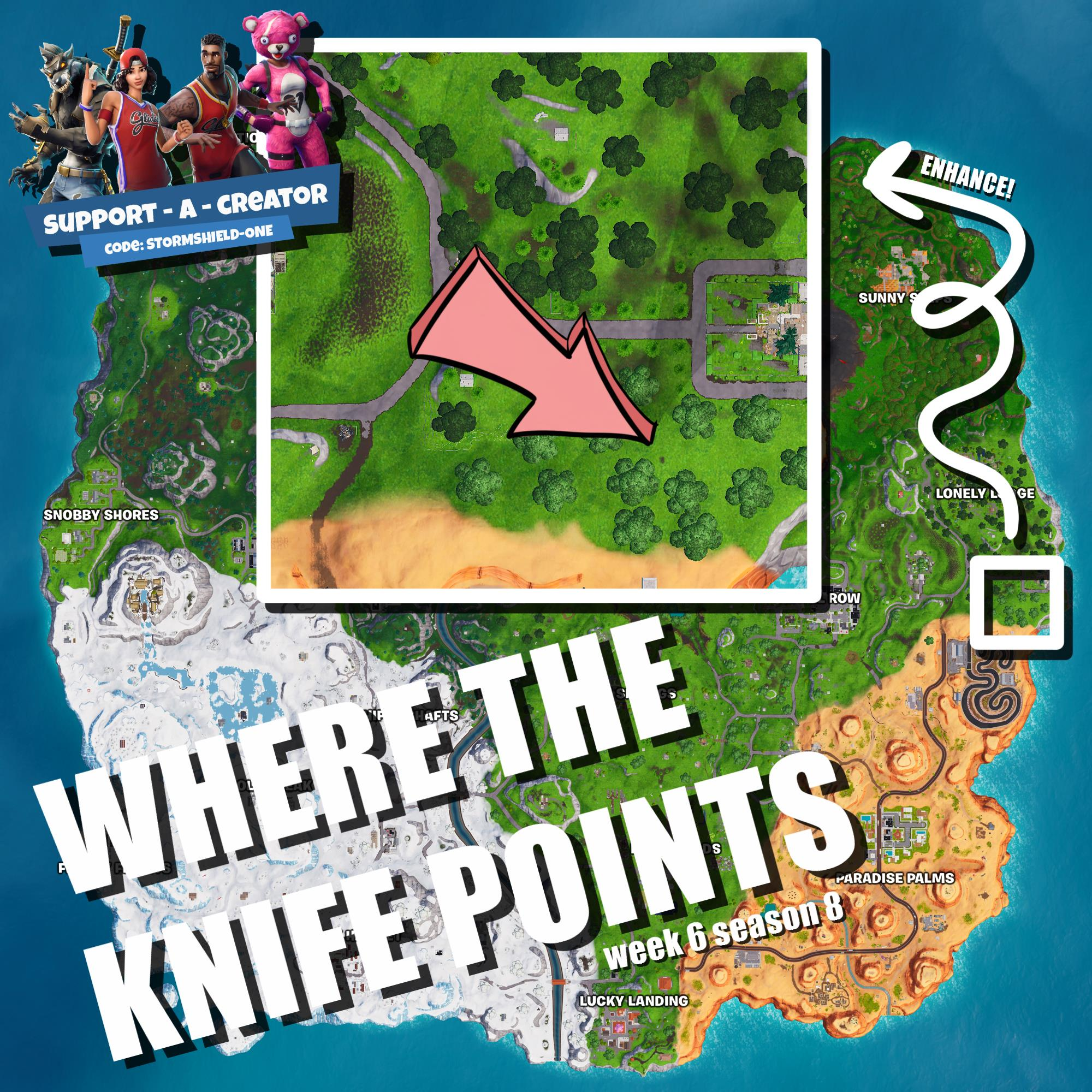 Where does the knife point on the treasure map loading screen fortnite season 8
