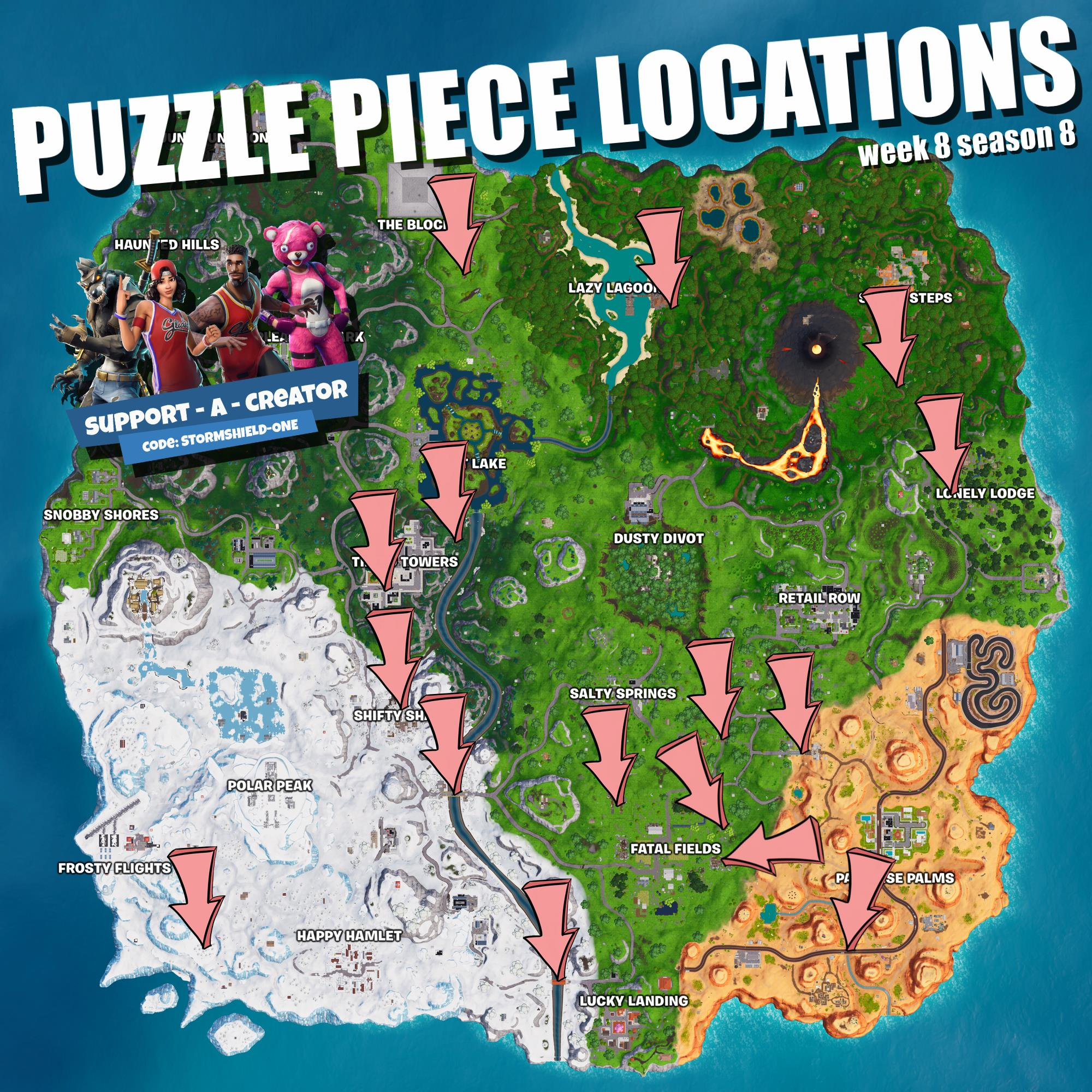 search 7 jigsaw puzzle pieces under bridges and in caves - search the treasure map signpost found in paradise palms in fortnite battle royale