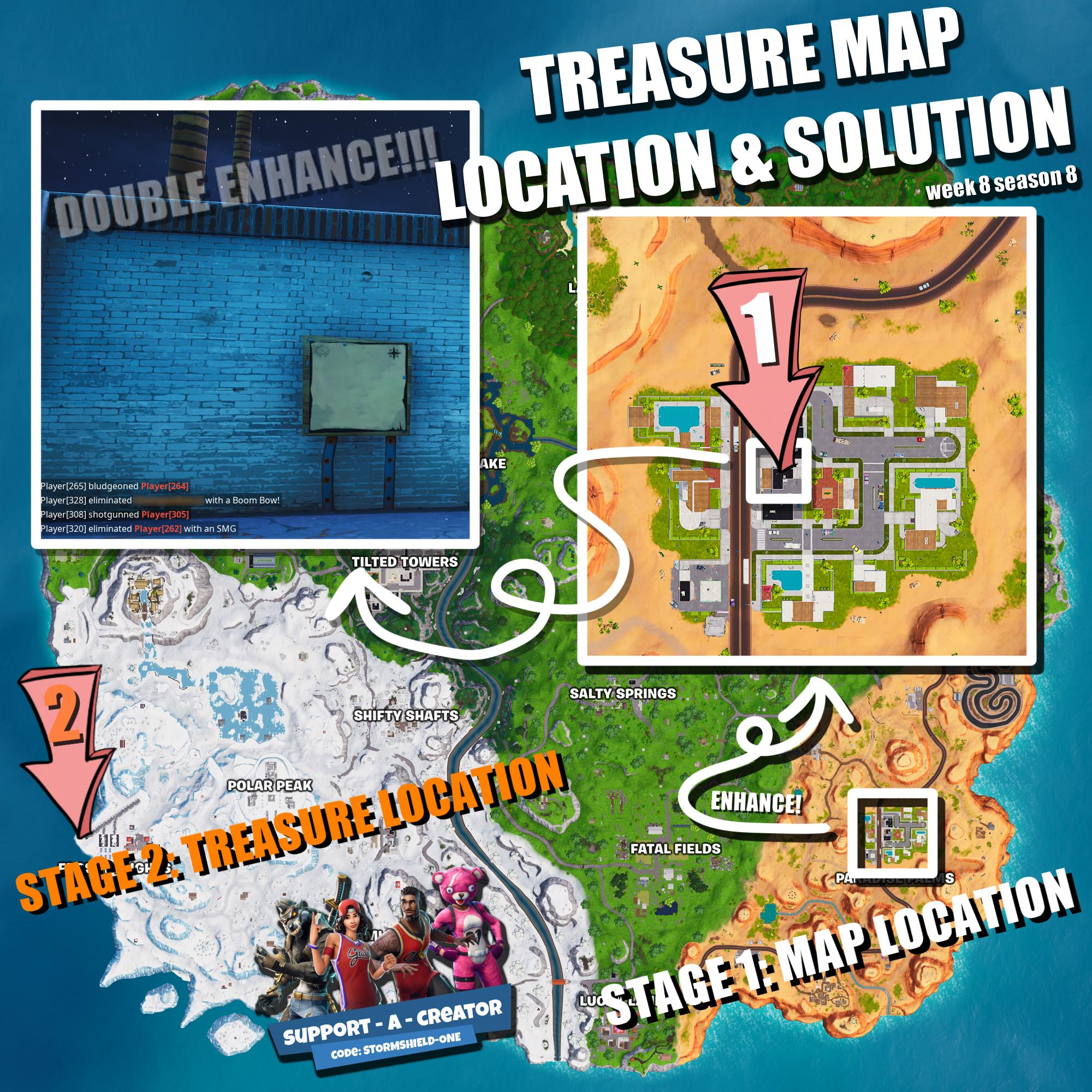 search the treasure map signpost found in paradise palms etc - search the treasure map singpost found in paradise palms fortnite