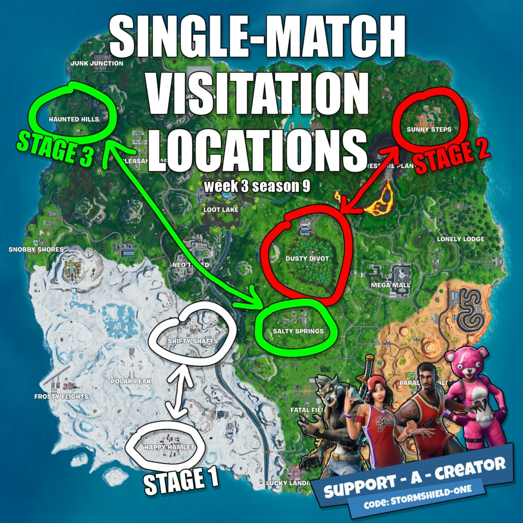Map 3 Locations.Fortnite Locations To Visit For Season 9 Week 3 S Challenge