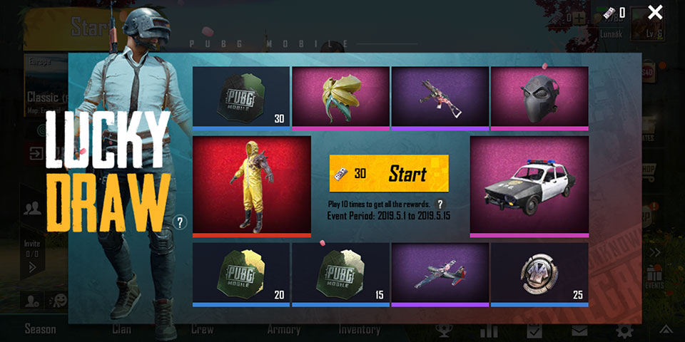PUBG Mobile RE2 Lucky Draw May items