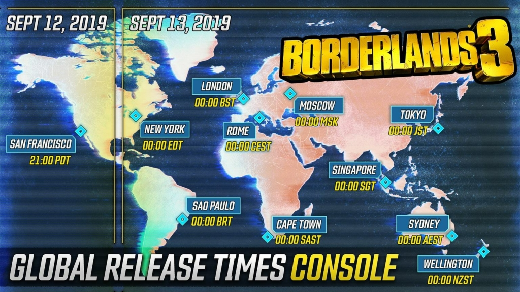 Here's When You Can Play Borderlands 3, by Platform and Time ... on show me a time zone map, best time zone map, eastern us time zones, new hampshire time zone map, massachusetts climate zone map, north dakota deer unit map, salt lake city time zone map, united states east of mississippi river map, south east asia time zone map, north dakota duck hunting zone map, north dakota rivers lakes map, eastern time zone indiana, west virginia time zone map, bahamas time zone map, iowa plant zone map, area code and time zone map, vermont time zone map, new england time zone map, minnesota state plane coordinate zone map, seattle time zone map,
