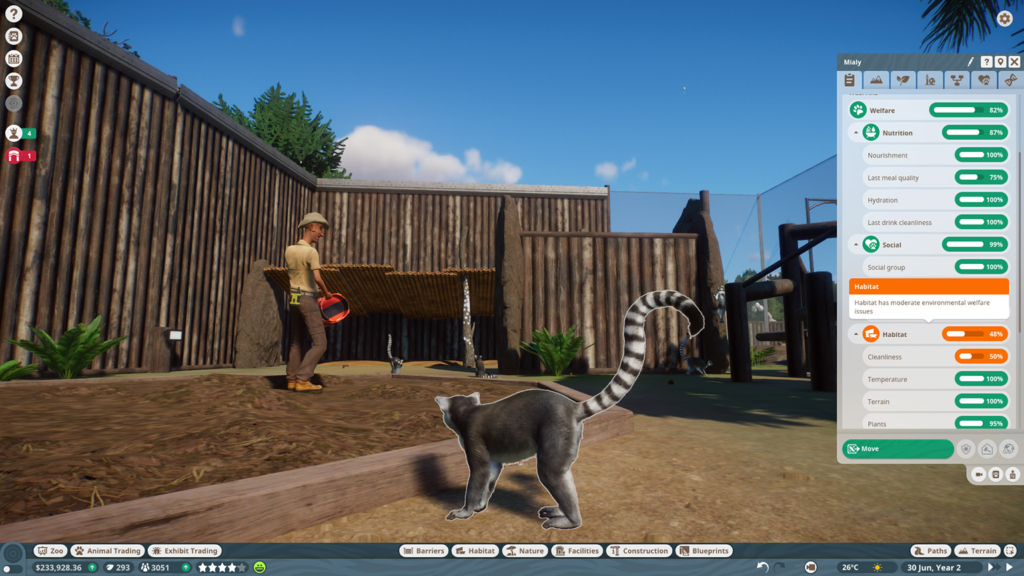 planet zoo lemur with keeper and info