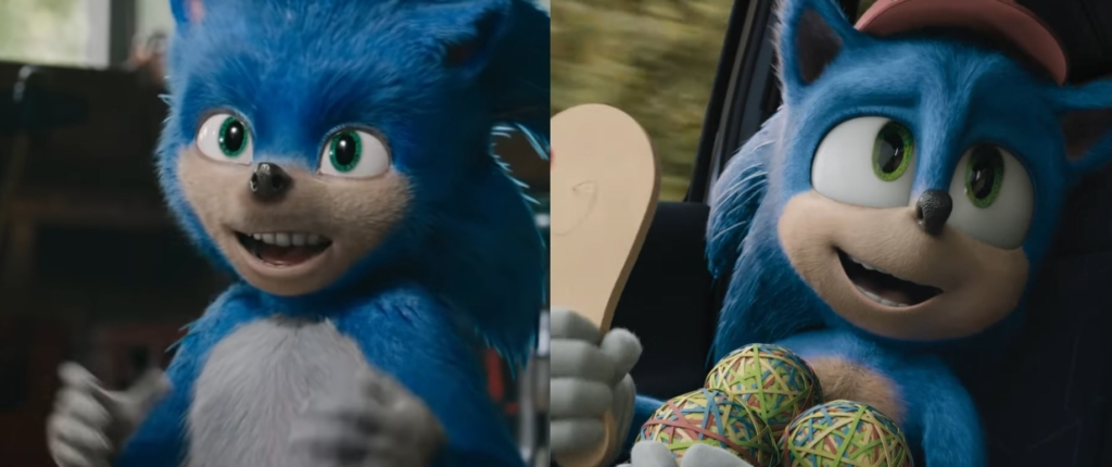 sonic the hedgehog new old teeth comparison