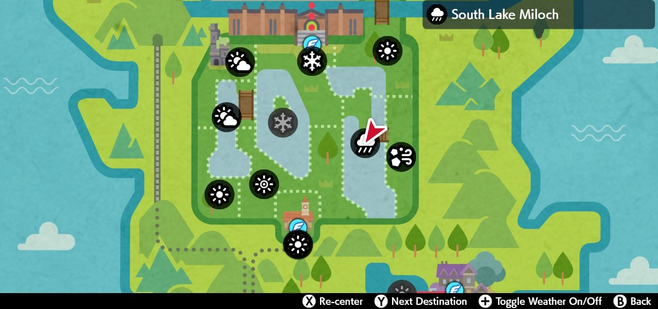weather icons on town map