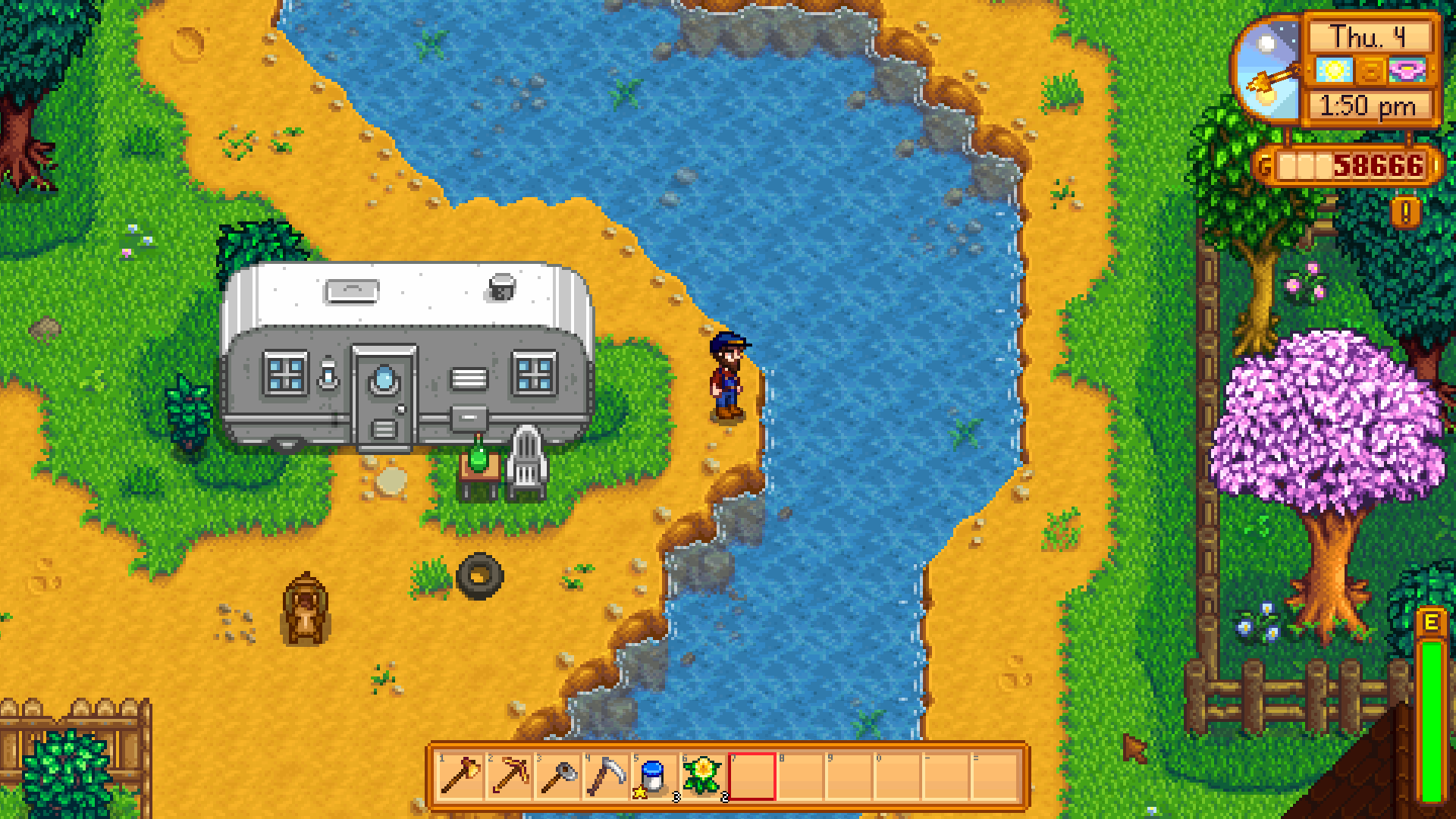 stardew trailer and river