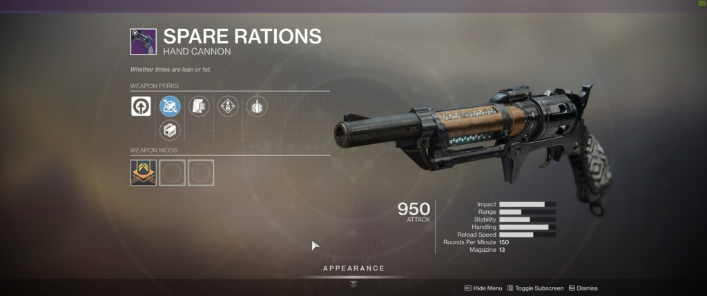 Destiny 2 Spare Rations
