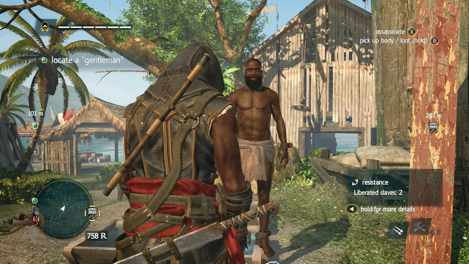 Assassin's Creed 4: Black Flag includes missions to free captive slaves, but treats them as objectives and resources.